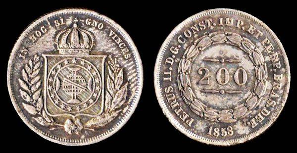 Brazil, 200 reis silver coin, 1858