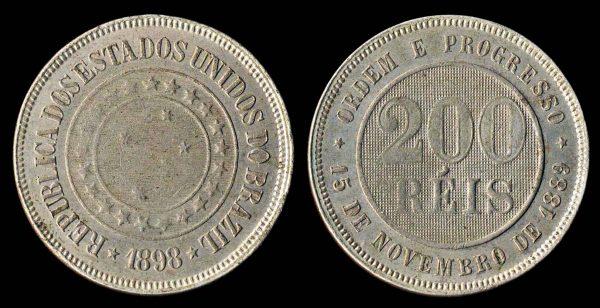 Brazil, 200 reis coin, 1898