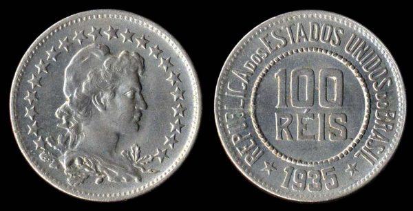 Brazil, 100 reis coin, 1935