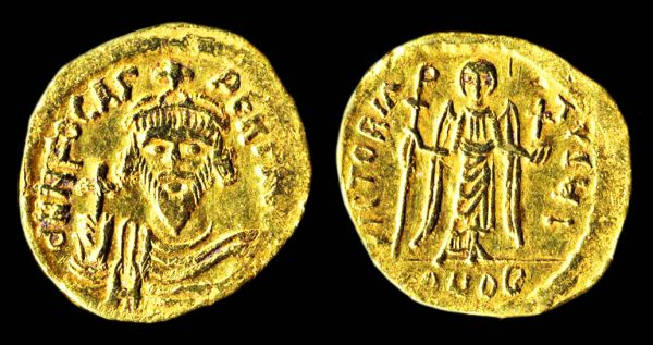 Ancient gold solidus coin of Byzantine Emperor Phocas