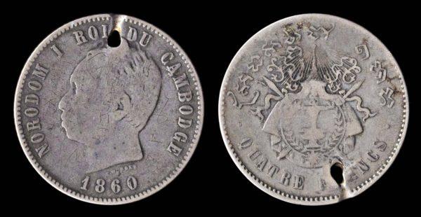 Cambodian silver 4 francs coin, 1860