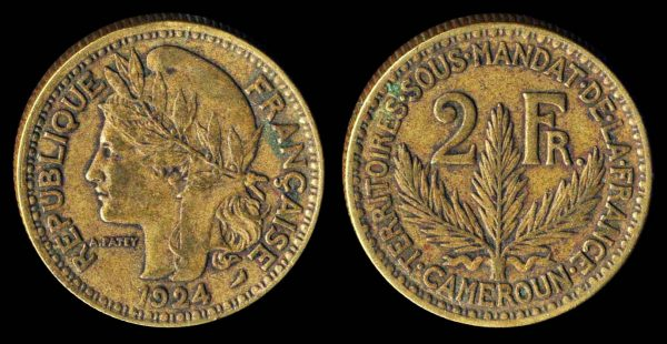 2 francs coin of French colony Cameroon in Africa