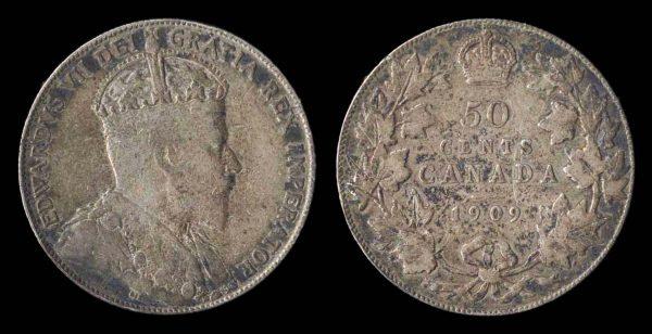 Canada silver 50 cents coin 1909