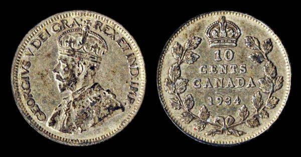 Canada silver 10 cents coin 1934