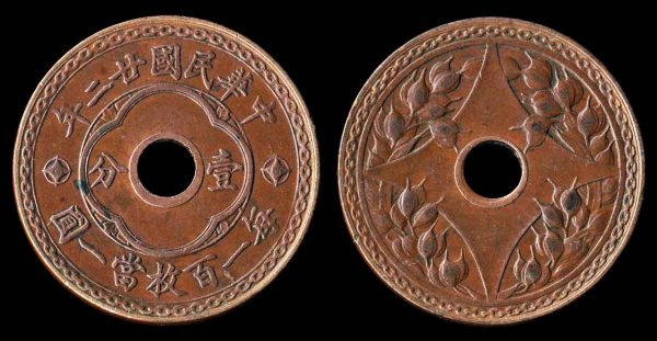 Chinese copper 1 fen coin 1933