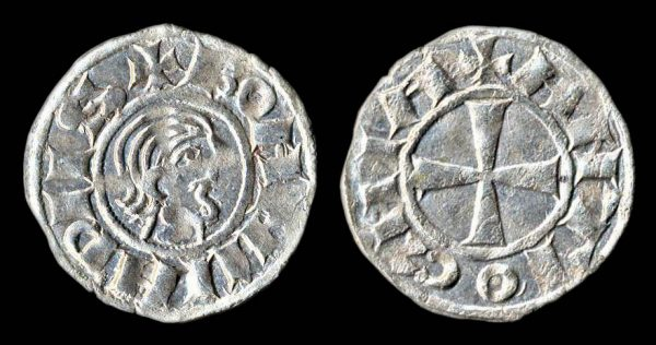 Crusader, Antioch, minority, 1149-63, silver denier coin