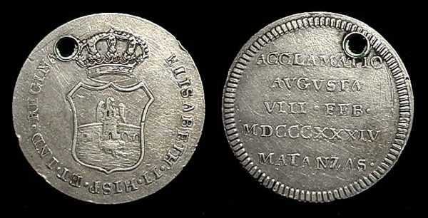Cuba, proclamation silver 2 reales coin 1834