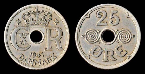 Faeroe Islands, Danish colonial 25 ore coin, 1941