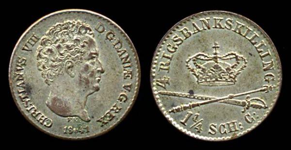 Denmark, 4 rigsbankskilling coin, 1841