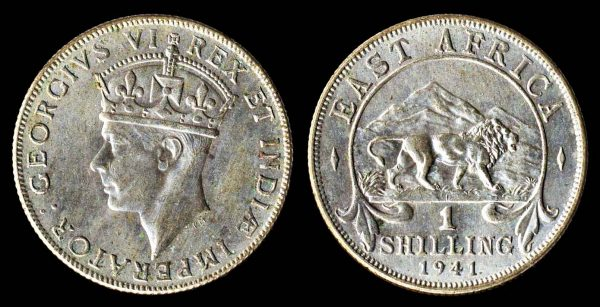 British East Africa colonial silver shilling coin 1941