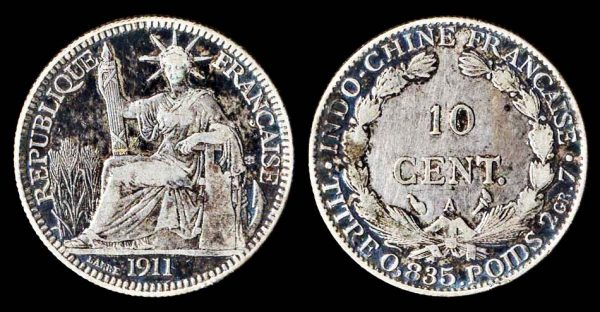 French Indochina silver 10 cent coin 1911