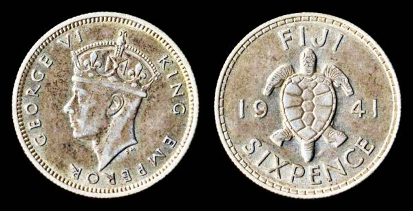 Fiji, British colonial silver sixpence coin with turtle, 1941