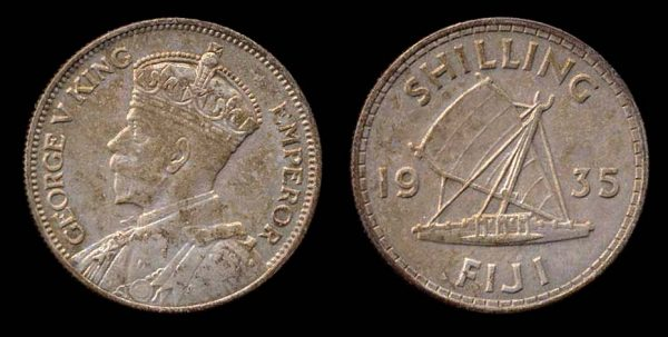 Fiji, British colonial silver shilling coin with sail canoe, 1935