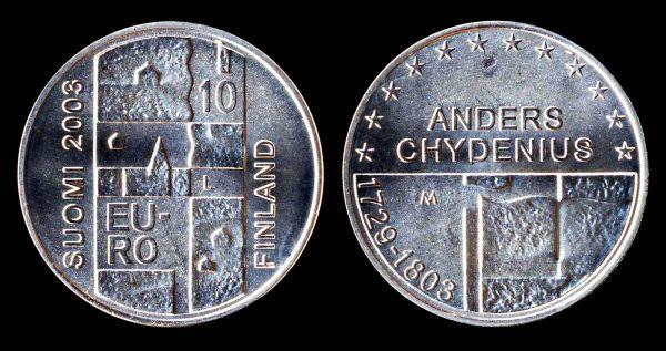 Finland, silver commemorative 10 euro coin 2003, Anders Chydenius commemorative