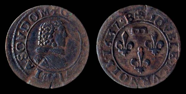 Medieval French copper coin of Dombes