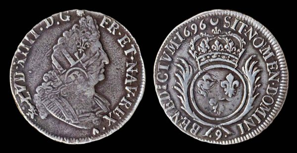 French silver half ecu coin of Louis XIV, 1699