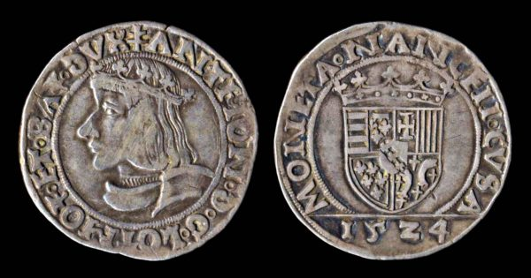 Medieval French silver teston coin of Lorraine, 1524