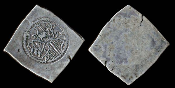 Large French silver siege taler coin of Strasbourg, 1592
