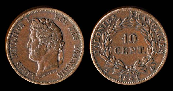 French Colonies copper 10 centimes coin, 1841