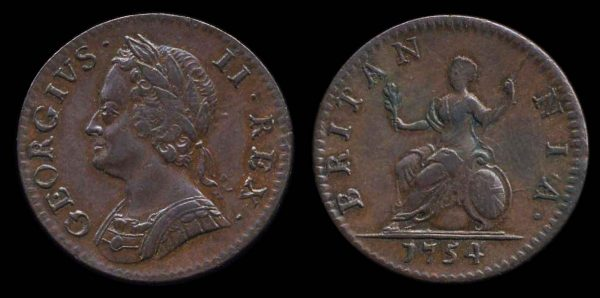 British copper farthing coin, 1754