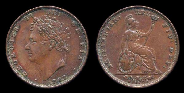British copper farthing coin 1827