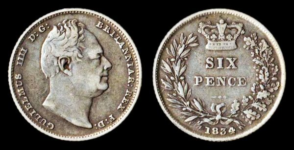 British silver sixpence coin 1834