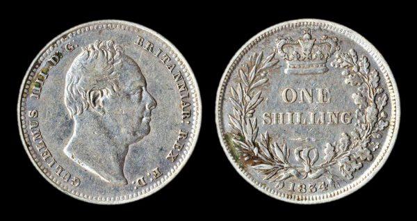 British silver shilling coin 1834
