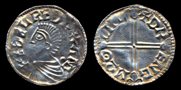 England, Anglo-Saxon king Aethelred the Unready, silver penny coin