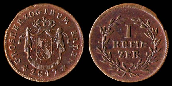 Copper coin of German state Baden 1817