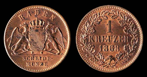 Copper coin of German state Baden 1868
