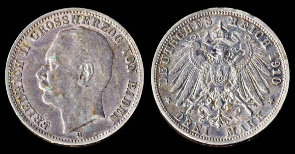 Silver 3 mark coin of German state Baden 1910