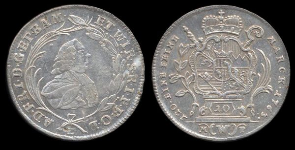 Silver coin of German state Bamberg 1763