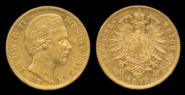 Gold 20 mark coin of German state Bavaria 1872