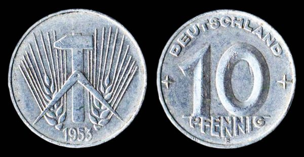 East Germany 10 pfennig coin 1953E