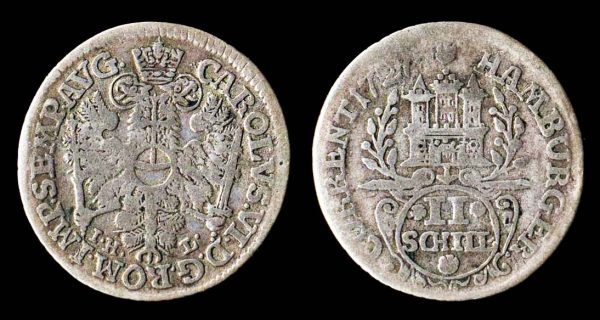 2 schilling coin of German city Hamburg, 1727