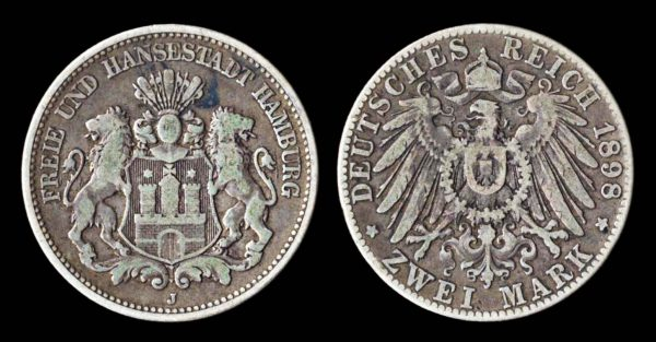 2 mark silver coin of German city Hamburg, 1898