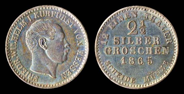 2 1/2 silbergroschen billon coin of German city Hesse-Cassel, 1865