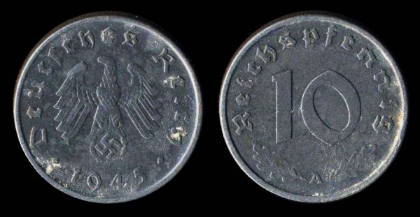 Germany, 10 pfennig zinc coin, 1945A