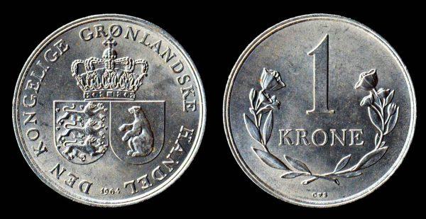 Greenland 1 krone coin 1960