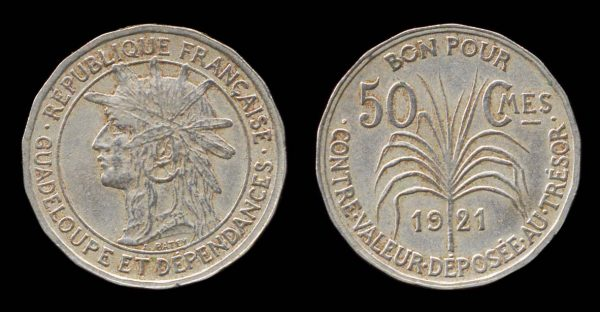 Coin of French colony Guadeloupe 1921