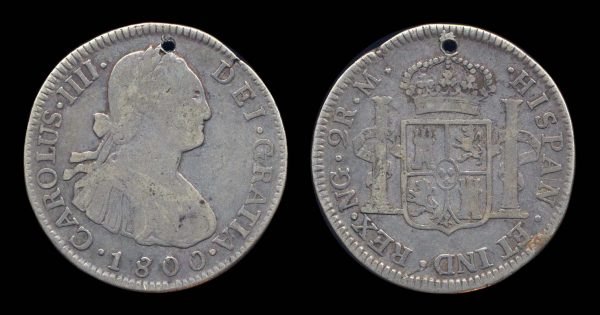 Spanish colonial Guatemala silver 2 reales coin 1800