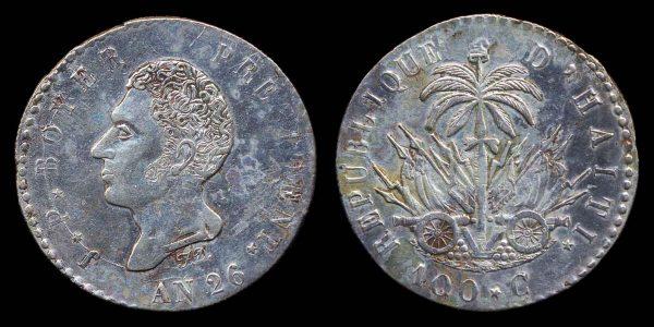 Haiti silver 100 centimes coin, 1829