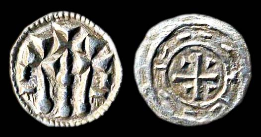 Medieval Hungarian silver coin of king Stephen II. 1116-31