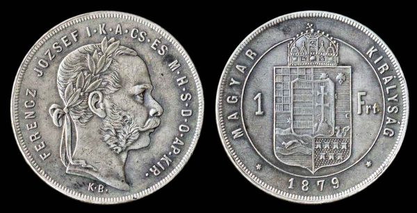 Hungarian silver 1 forint coin 1879