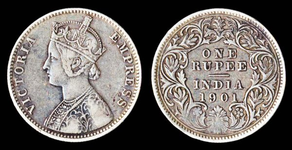 British India silver rupee coin 1901