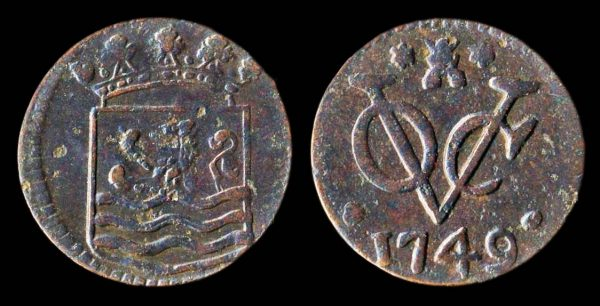 Netherlands Indies, VOC, duit coin 1749 Zeeland