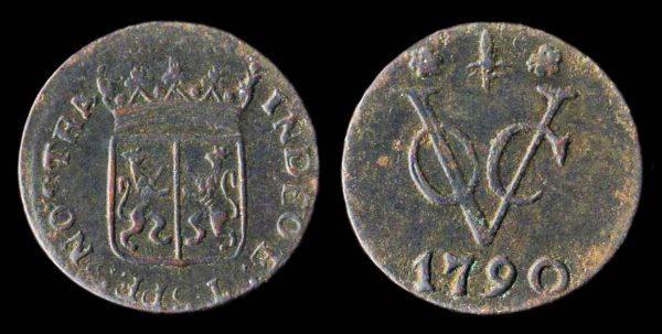 Netherlands Indies, VOC, duit coin 1790 Gelderland