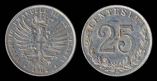 Italian 25 centesimi coin 1902