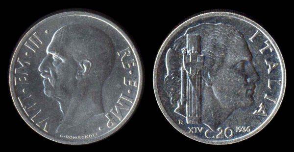 Italian 20 centesimi coin 1936