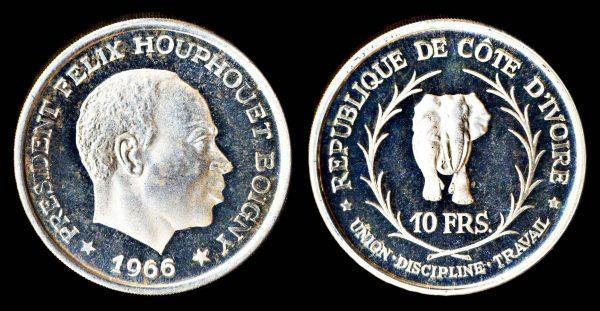 Ivory Coast silver elephant coin